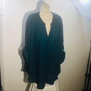 Torrid Plus Sz 5 Dark Green 3/4 Dress Tunic Blouse